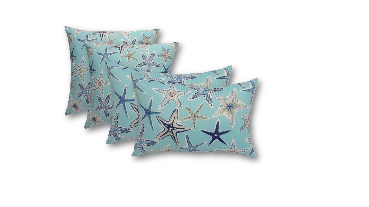 Resort Spa Home Set of 4 Indoor Outdoor Pillows – 20 Square Throw Pillows 2 Rectangle Lumbar Throw Pillows – Ocean Blue Starfish