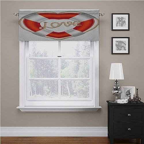 Interestlee Buoy Bathroom Window Curtain Heart Shaped Life Belt Valentine Love Affection Honeymoon Romantic Theme Art Rod Pocket Matches