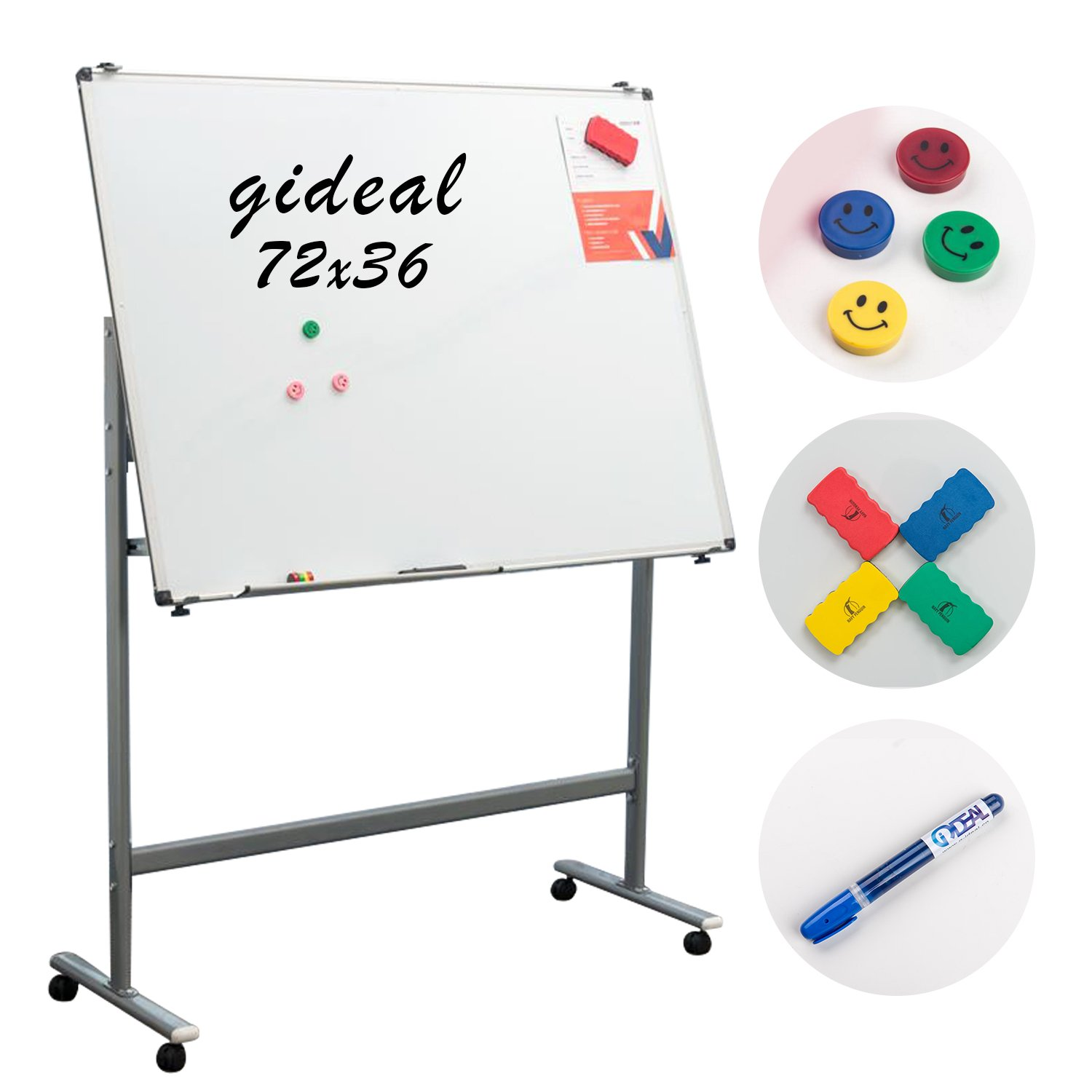 Gideal Mobile White Board 72'' x 36 '' Dry Erase Board for Home School Office QX183