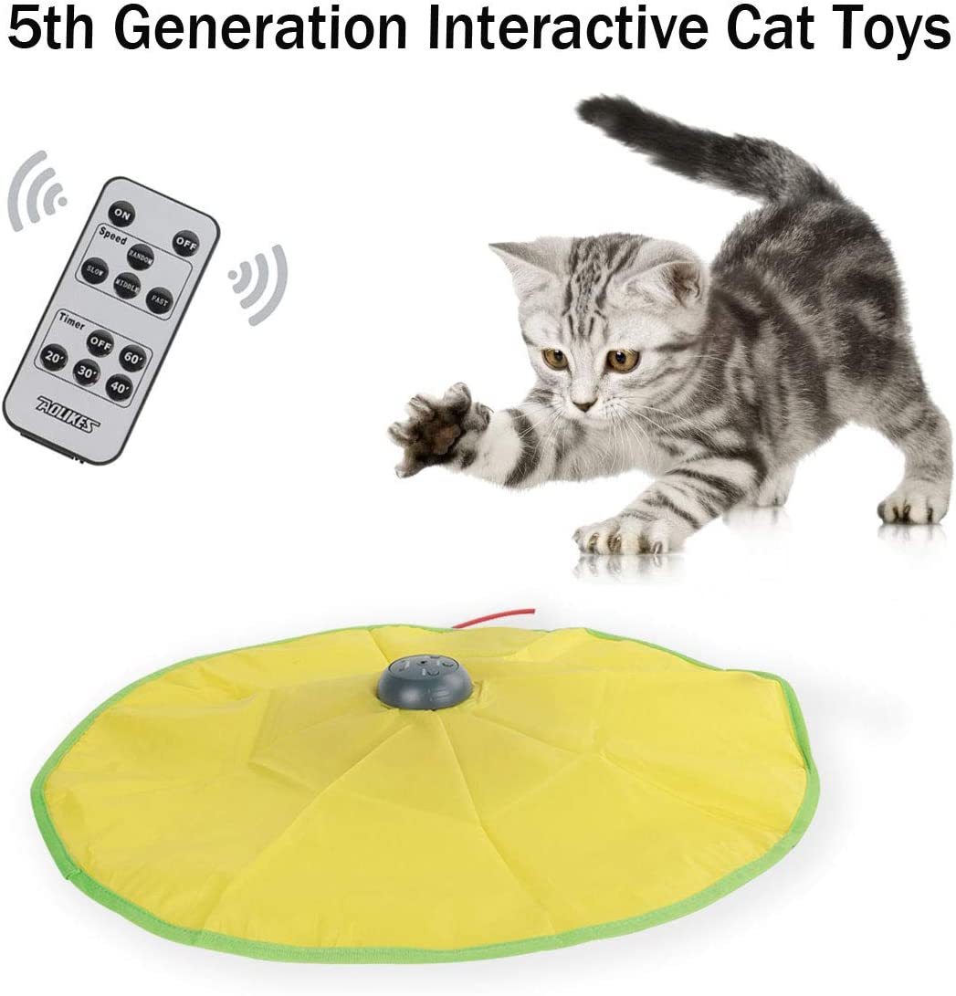 Interactive Cat Toys, with Wireless Remote & 2600mAh Lithium Battery, 5th Generation Durable Smart Undercover Motorized Mouse Exercise Toy for Indoor