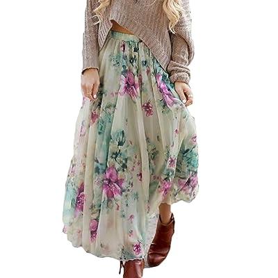 6720b7b7f575c Été Jupe pour Femme Fille Mode Taille Haute Longue Jupe Mince Floral Modèle  Boho Plissée Mousseline