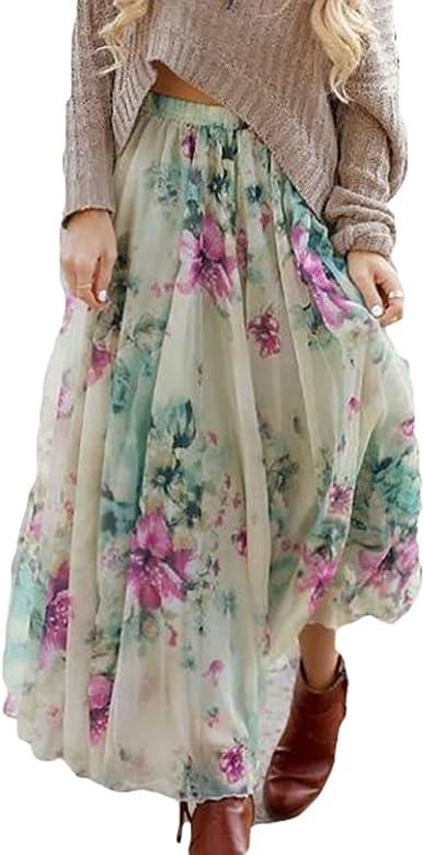 Verano Falda para Mujeres - Moda Cintura Alta Boho Skirt con ...