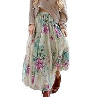 Été Jupe pour Femme Fille Mode Taille Haute Longue Jupe Mince Floral Modèle Boho Plissée Mousseline de Soie Swing Maxi Jupe avec Taille Elastique