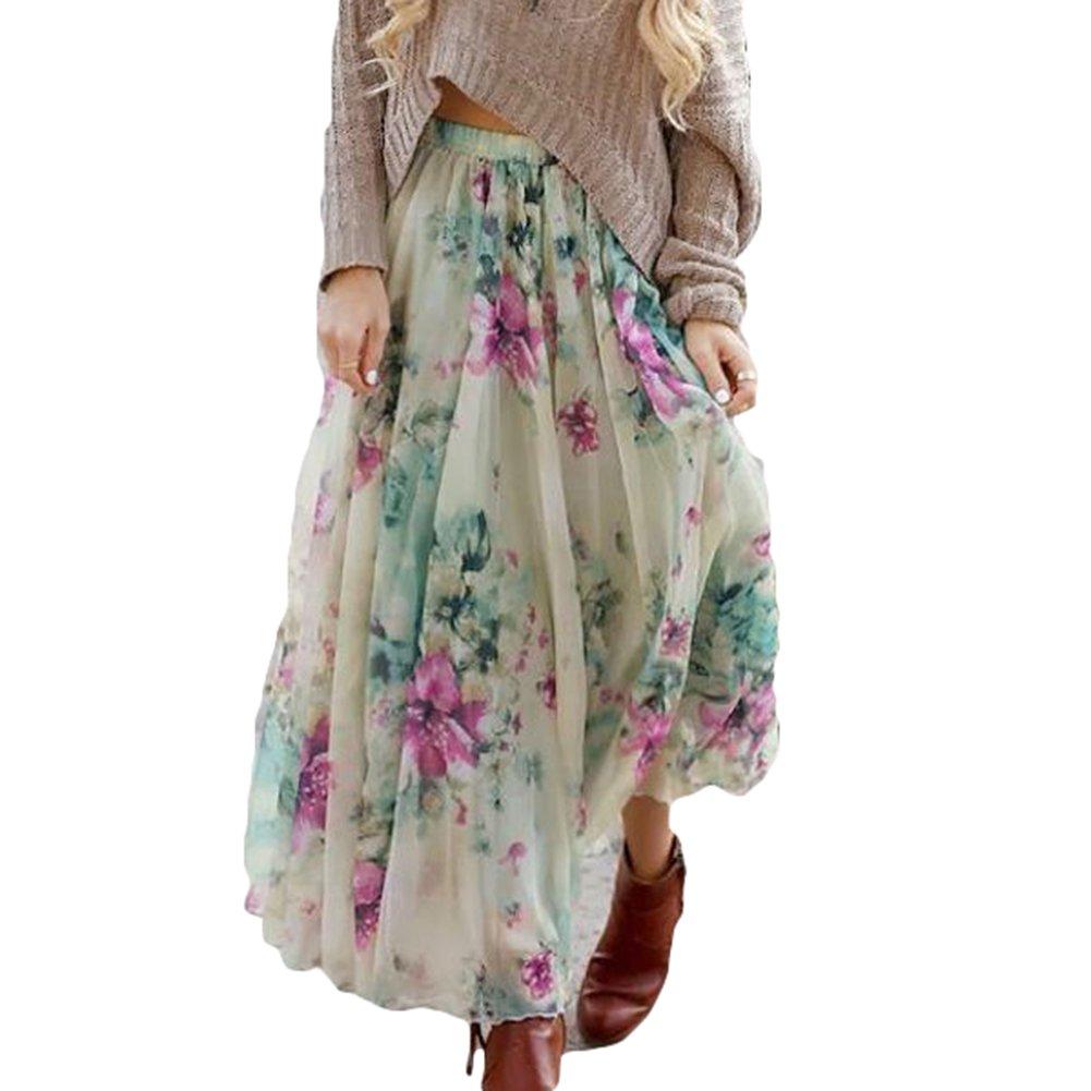 Damen Chiffon Röcke - Mode Hoch Taillierte Skirt mit Elastische Taille Floral Floral Gedruckt Falten Blumenrock Sommer Casual Beach Boho Knielänge Röcke S-XL D180114QZ3-J