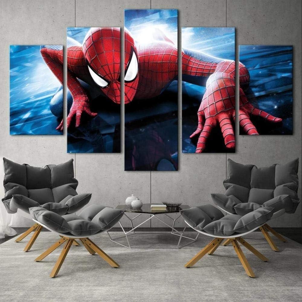 KOPASD Cuadro sobre Lienzo - 5 Piezas - Spiderman Marvel - Ancho: 150Cm, Altura: 80Cm - Listo para Colgar - En Un Marco