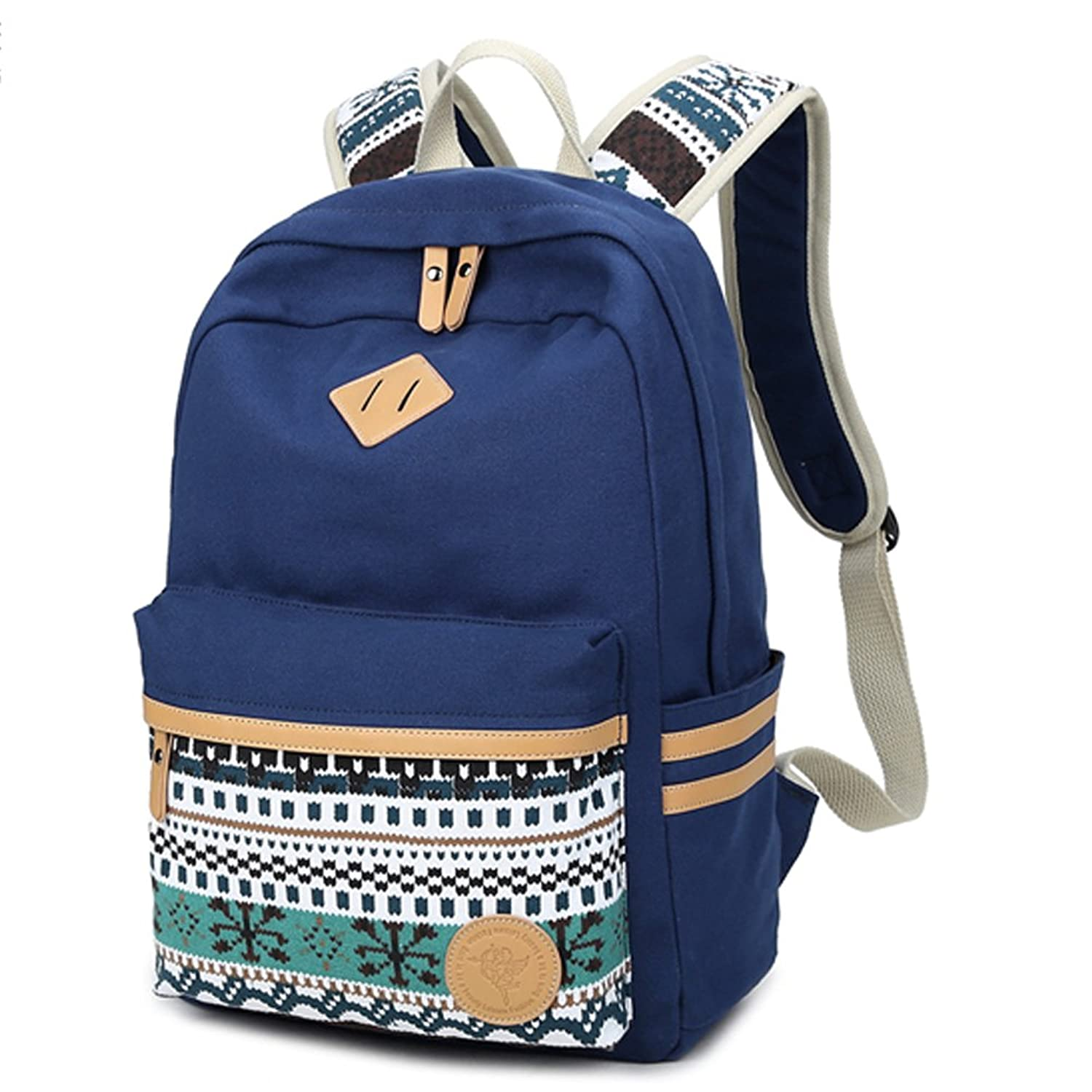 Canvas School Backpack, Classic Travel 14-Inch Laptop Cute Backpacks Student Bookbags for Teen Girls Boys Kids Fresion