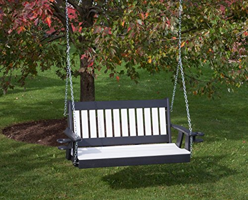 (4FT-BRIGHT WHITE-POLY LUMBER Mission Porch Swing with Cupholder arms Heavy Duty EVERLASTING PolyTuf HDPE - MADE IN USA - AMISH CRAFTED)