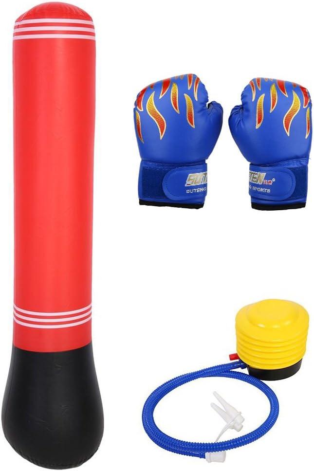 Guantes de Boxeo para Niños PU Sparring Punzonado Guantes de Entrenamiento con Saco de Boxeo Inflable Bomba para Niños de 3-12 Años