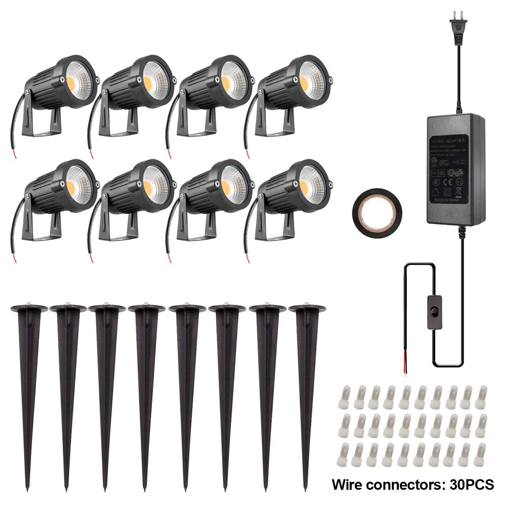 ZUCKEO 5W LED Landscape Lights with Transformer 12V 24V Waterproof Garden Pathway Lights Warm White Walls Trees Flags Outdoor Spotlights with Spike Stand (8 Pack with Transformer) by ZUCKEO (Image #5)