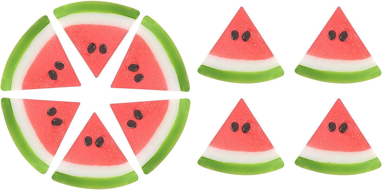 10 Pieces Artificial Watermelon Slices Fake ice Cubes Simulation Lemon Slices Faux Realistic Lemon Plastic Fake Fruit Model for Kitchen Party Decor Photography Prop Wedding Decoration (Watermelon)