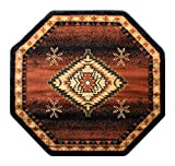 Southwest Native American Area Rug Design Bellagio 357 Black (4 Feet x 4 Feet) Octagon