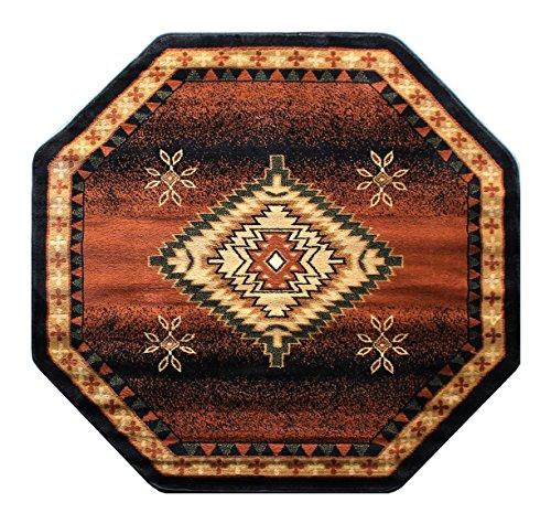 Dishes Native American (Southwest Native American Area Rug Design Bellagio 357 Black (4 Feet x 4 Feet) Octagon)