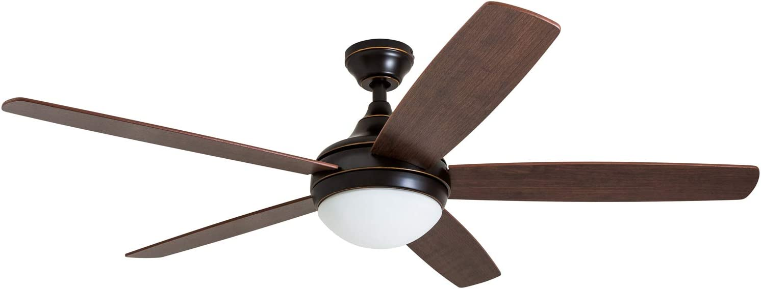 "Prominence Home 80093-01 Ashby Ceiling Fan with Remote Control and Dimmable Integrated LED Light Frosted Fixture, 52"" Contemporary Indoor, 5 Blades Light Oak/Newport Brown, Oil-Rubbed Bronze"