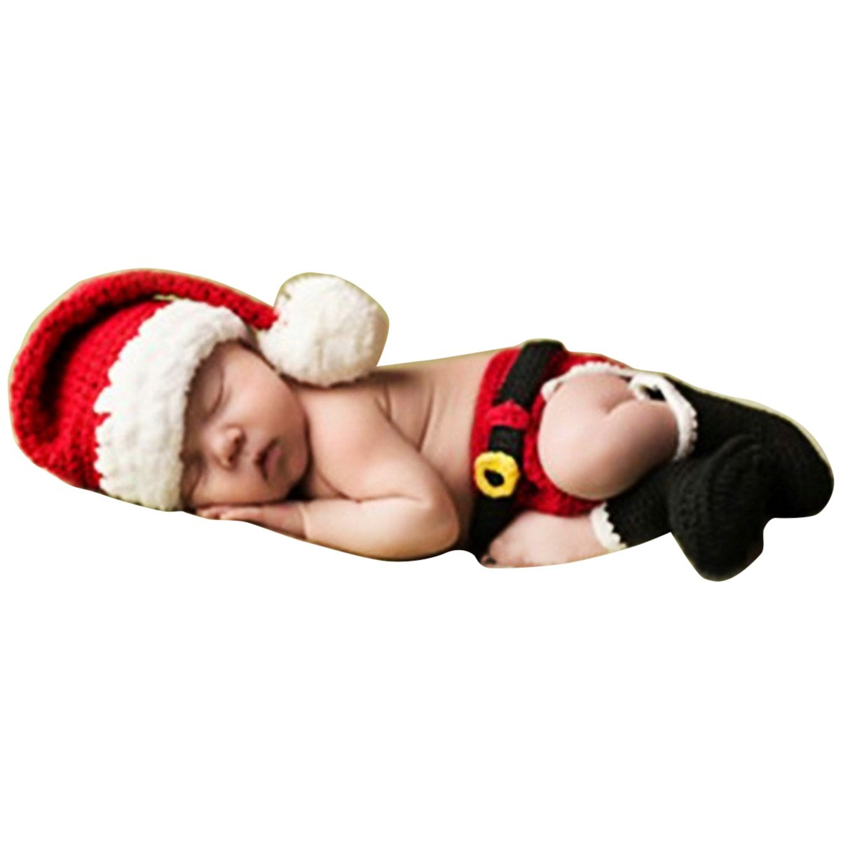 New Born Baby Christmas Costume Handmade Newborn Baby Boy Photo Photography Props Crochet Knitted Prop Clothes Outfits Blankets(6~12months) BTJP