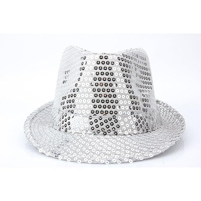 3af501d19 YQ Unisex Sequin Trilby Fedora Hat Sparkle Glitter Adult Size Silver ...