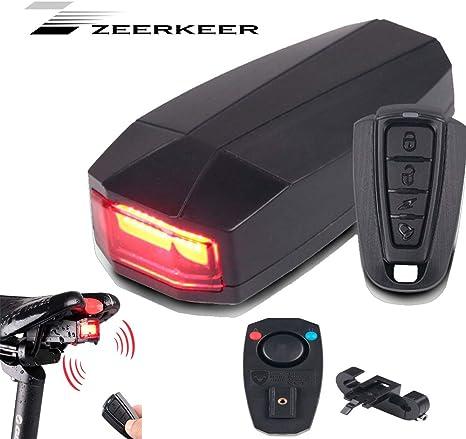 Luz trasera para bicicleta, alarma antirrobo, mando a distancia ...