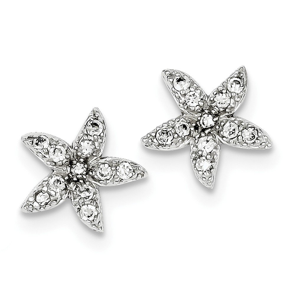 925 Sterling Silver Rhodium-plated CZ Starfish Post Earrings