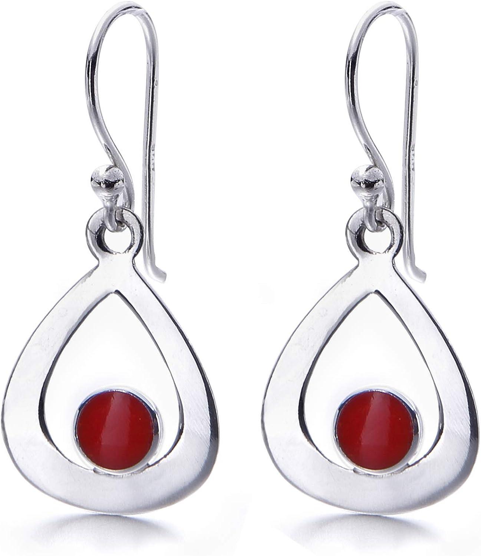 LOVE U LOUD* Pendientes de plata de primera ley y coral rojo diseño CORAL DROP para Mujer con preciosa caja de Regalo.