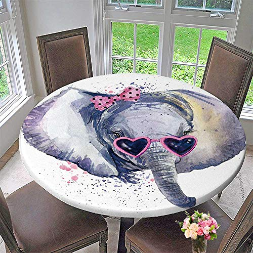 PINAFORE HOME Round Fitted Tablecloth Baby Elephant t Shirt Graphics Baby Elephant with Splash Textured for All Occasions 55