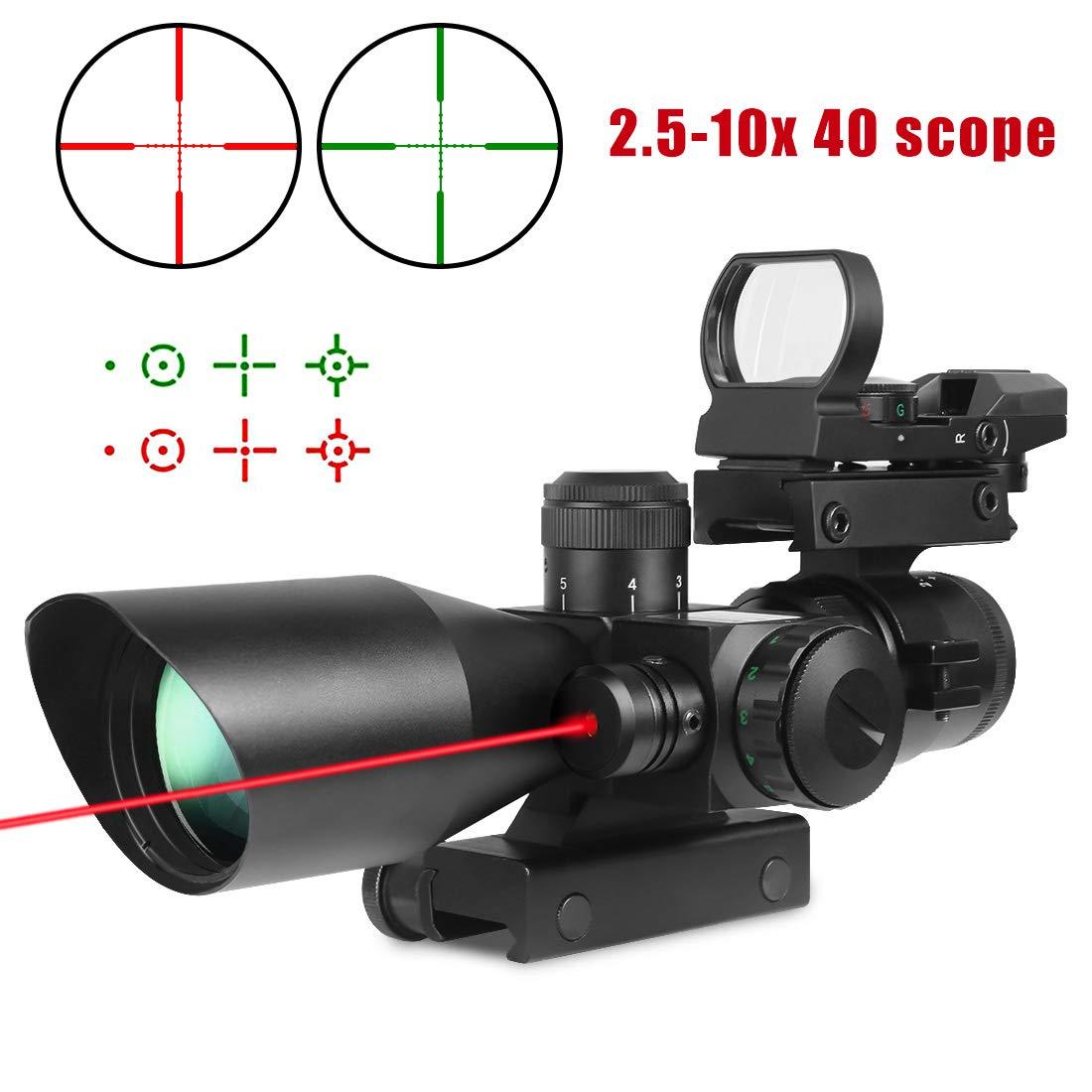 Twod Rifle Scope 3 in 1 2.5-10x40 Sight Red Laser Rail Mount+4 Reticle R&G Dot Open Reflex Sight w/Weaver-picatinny Rail Mount+scope Barrel Mount