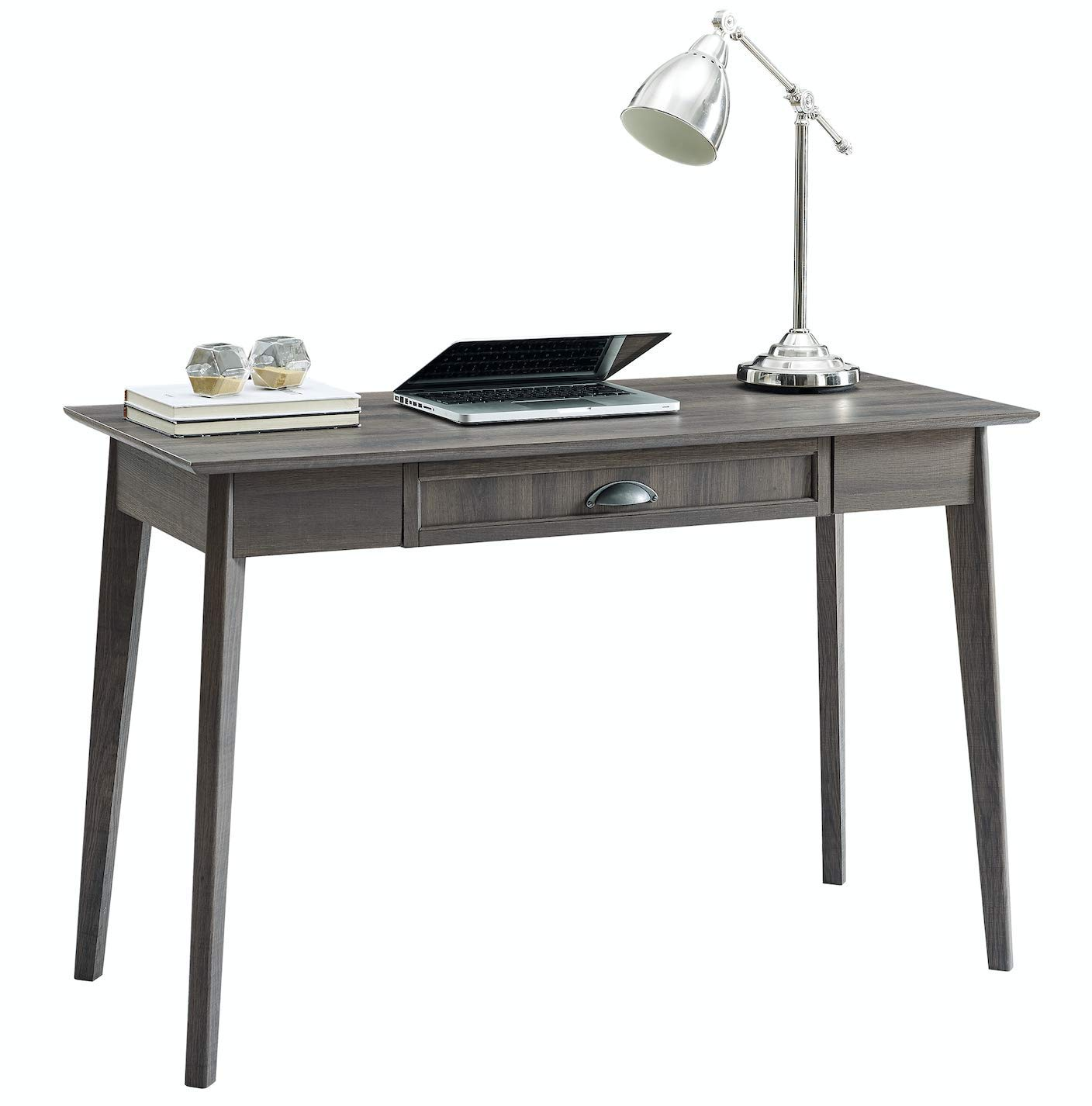 Newport Series Home Office Computer Writing Desk with Fully Extended Drawer | Laptop PC Workstation with USB Hub | Sturdy and Stylish | Easy Assembly| Smoke Oak Wood Look Accent Living Room Furniture by CAFFOZ Furniture Designs