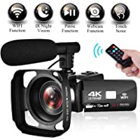 "Camcorder Video Camera 4K Ultra HD WIFI Camcorder Camera 3.0"" Touch Screen Night Vision Camcorder Vlogging Camera with External Microphone"