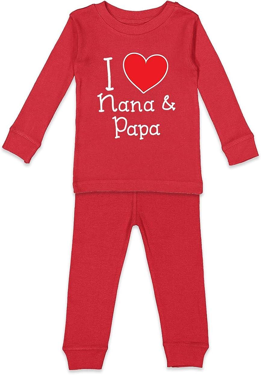 Heart Cute Kids Pajama Set I Love My Nana /& Papa