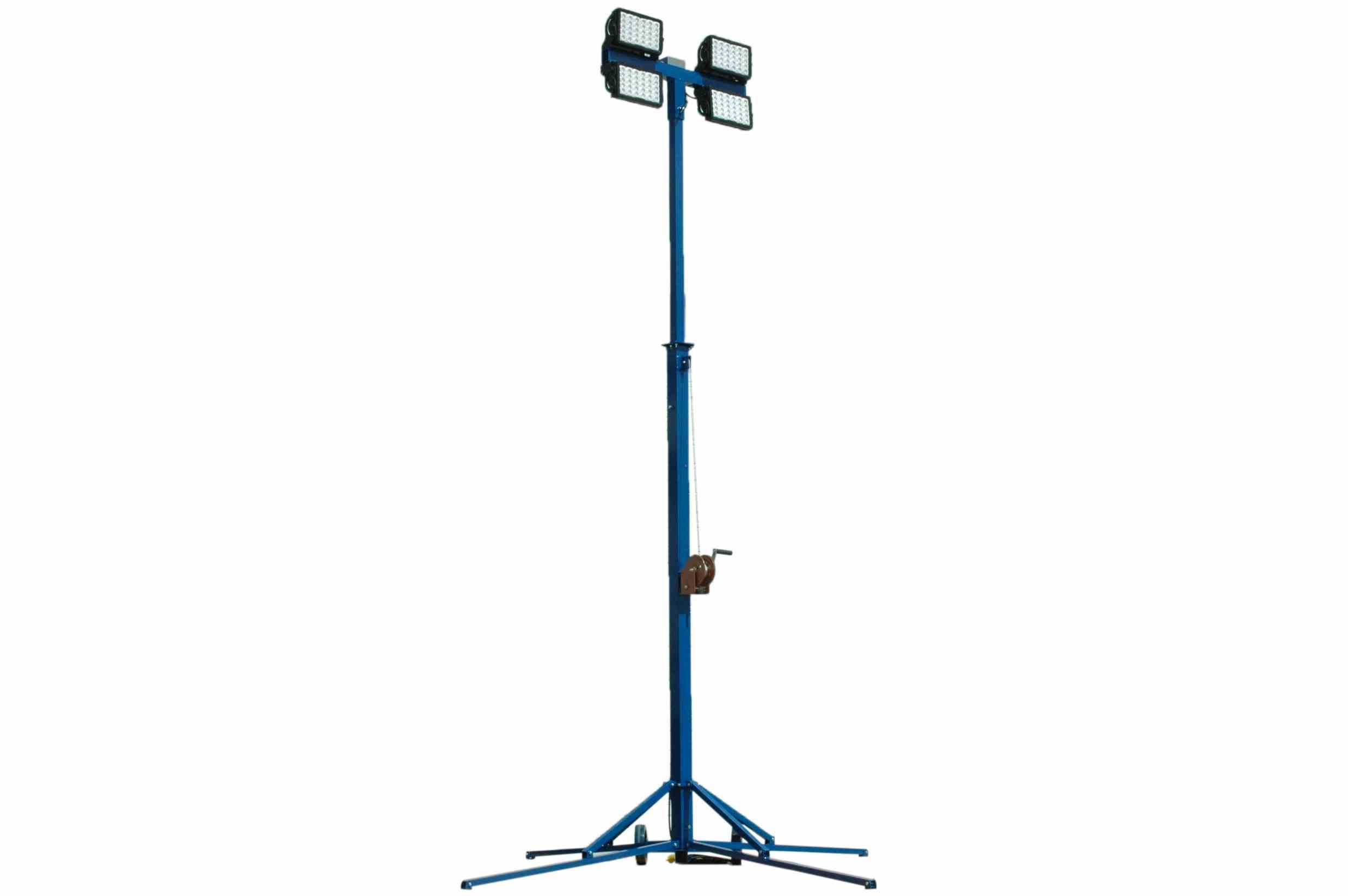 600W Portable Light Tower - (4) LEDs - 24-48V DC - Extends 14' - Magnetic Switchbox - Battery Clamps
