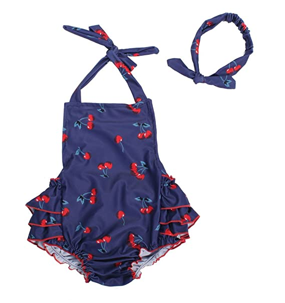 uk store value for money sale usa online Baby Girl Cherry Pattern Bathing Suits Outfits Rompers with Headband 0-4  Years
