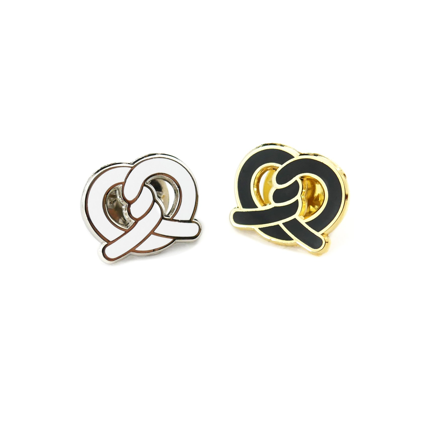 ONCH Originals Pretzel Twist Cute Enamel Pin, Kawaii Food Pin Brooch Lapel for Women and Men Gifts (White, Black)