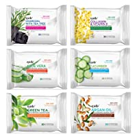 Epielle New Make-Up Remover Cleansing Tissues, 30 Count (Assorted 6 Pack) 1-Charcoal, 1-Collagen & Vitamin E, 1-Aloe Vera, 1-Cucumber, 1-Green Tea, 1-Argan Oil