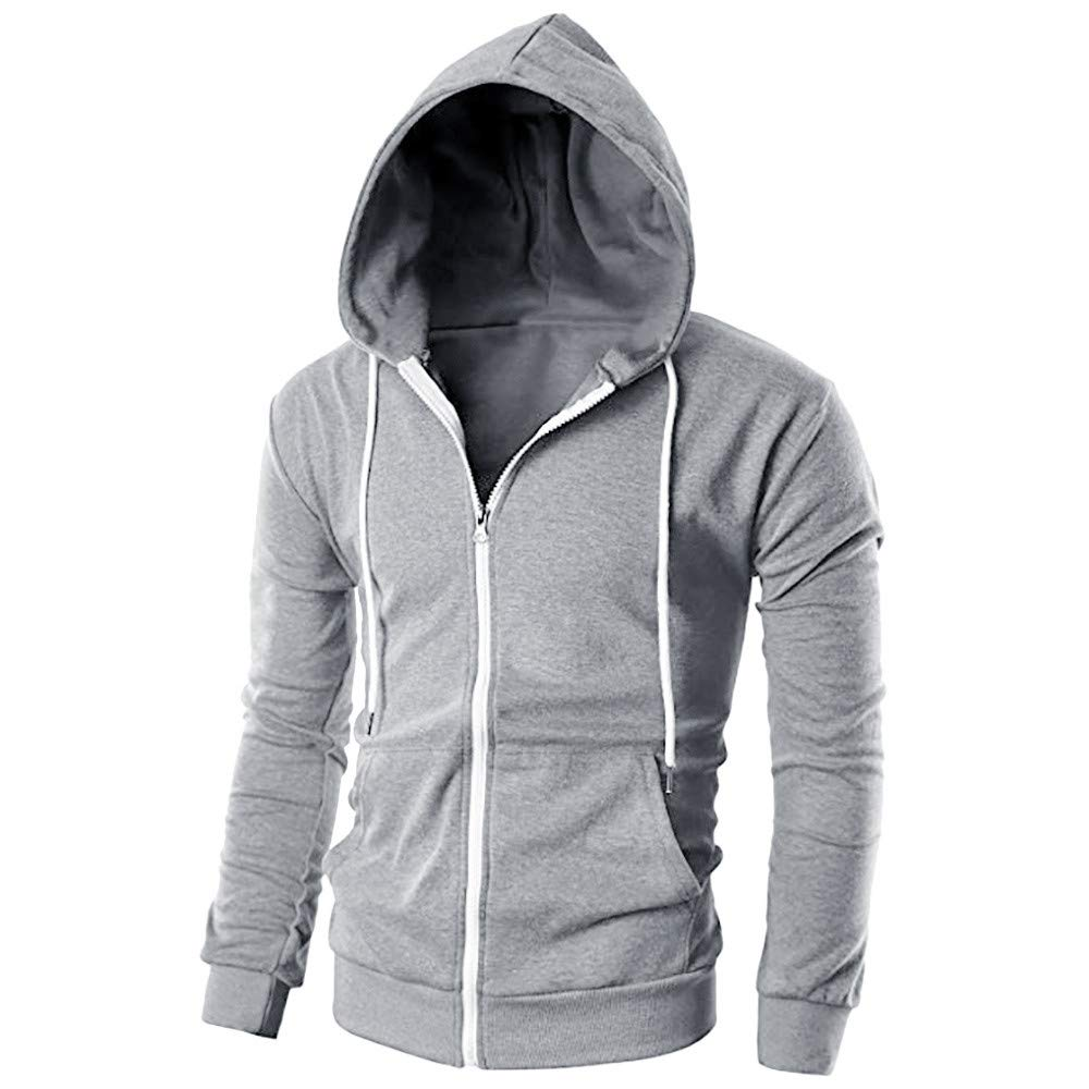 Mens Jacket Godathe Clearance Mens Casual Slim Fit Long Sleeve Zipper Hoodie with Pocket Outwear Blouse S-2XL