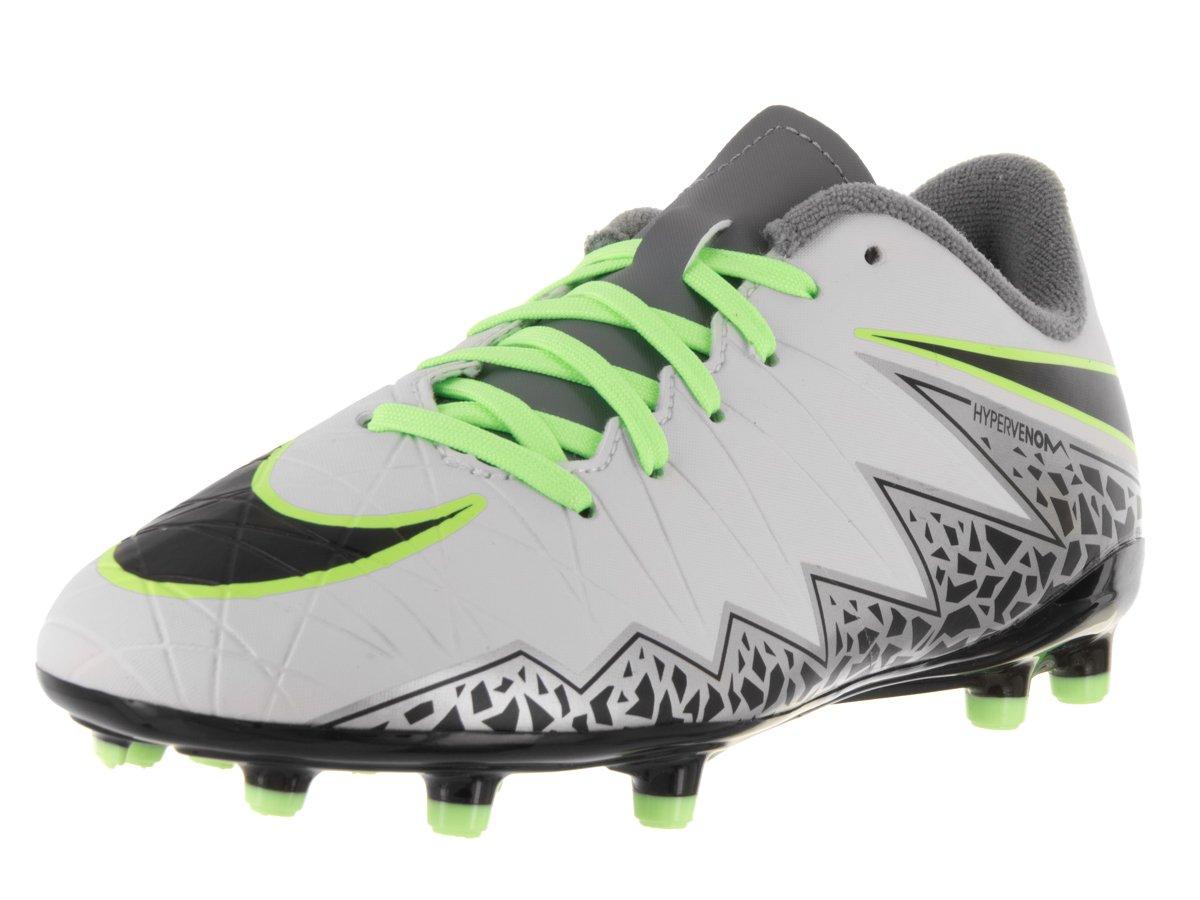 Nike Kids Jr Hypervenom Phelon II Fg Soccer Cleat, 1 Little Kid M, Pure Platinum, Black, Ghost Green