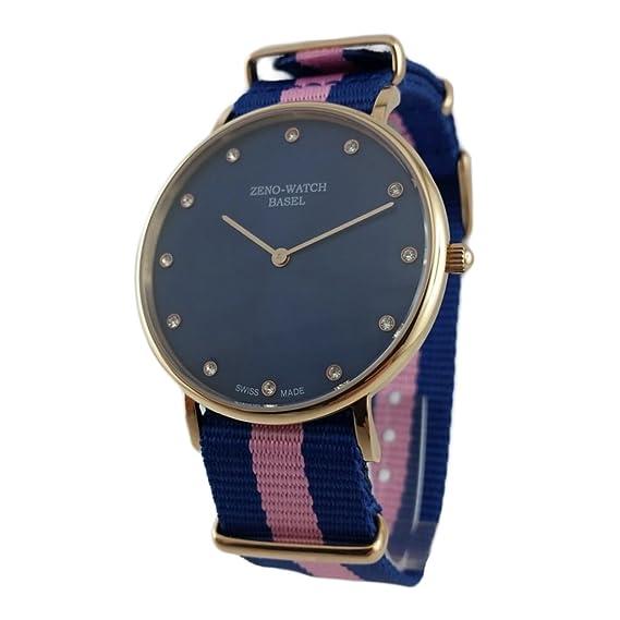 Reloj Suiza Zeno, cristal, zafiro), correa NATO nylon azul y rosa,