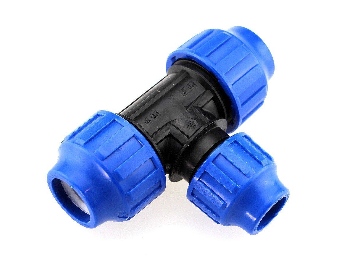 PE T-Stück reduziert Klemmverbinder Ø63 x 50 PE-PE Fitting PN 16 DVGW wt-discount