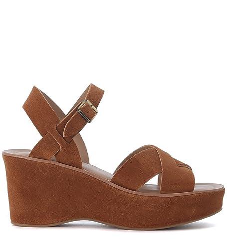 Kork Ease Sandal à semelles compensées  Ava en suede cuir Brun - Chaussures Sandale Femme