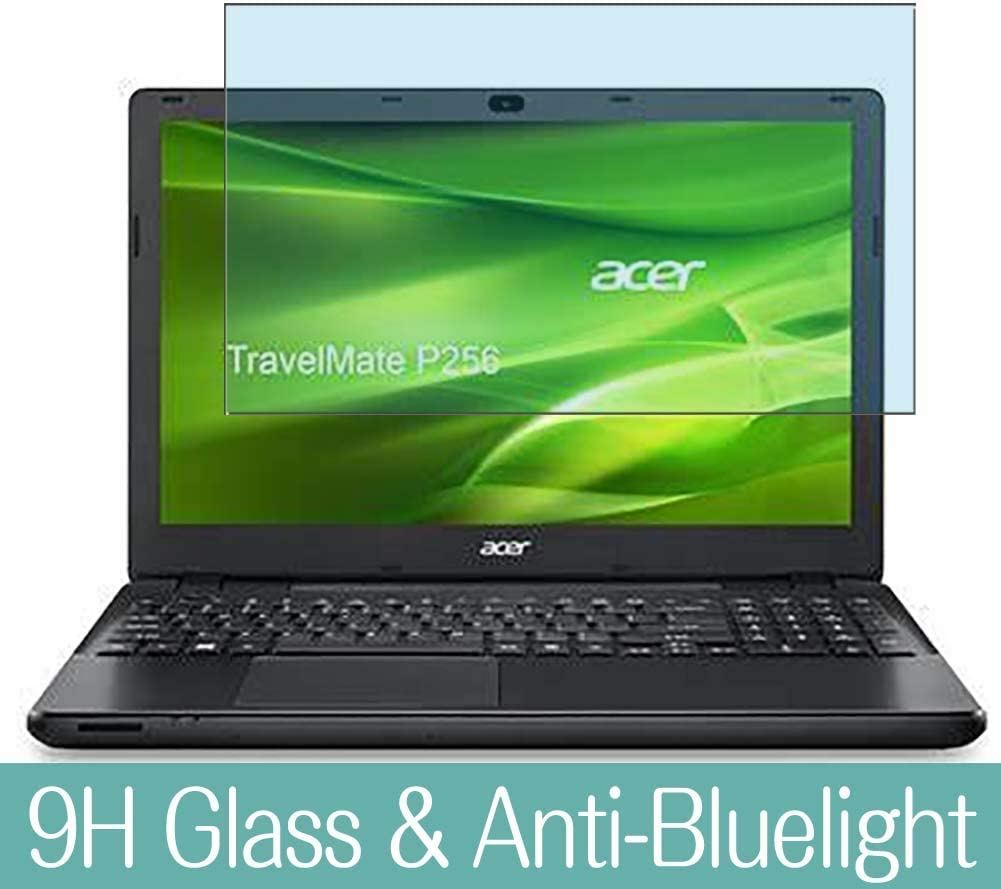 """Synvy Anti Blue Light Tempered Glass Screen Protector for Acer Travelmate P256-M / P256-MG 15.6"""" Visible Area 9H Protective Screen Film Protectors (Not Full Coverage)"""