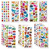 SAVITA 3D Stickers for Kids & Toddlers 500+ Puffy Stickers Variety Pack for Scrapbooking Bullet Journal Including Animal, Numbers, Fruits, Fish, Dinosaurs, Cars and More...