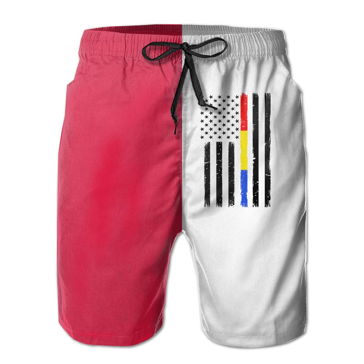 Xk7@KU Mens Quick Dry Beach Shorts Polyester Thin Red Blue Gold Line Flag Board Shorts with Pockets