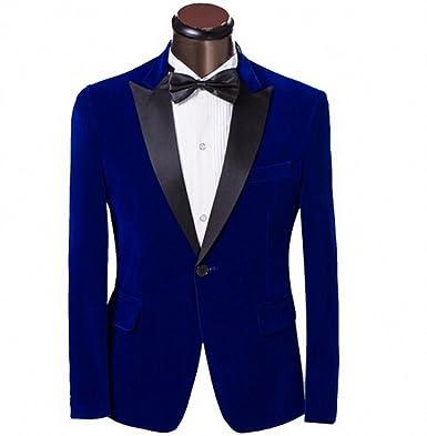 Botong Peak Lapel Men Suits Blue Jacket Black Pants Wedding Suits ...
