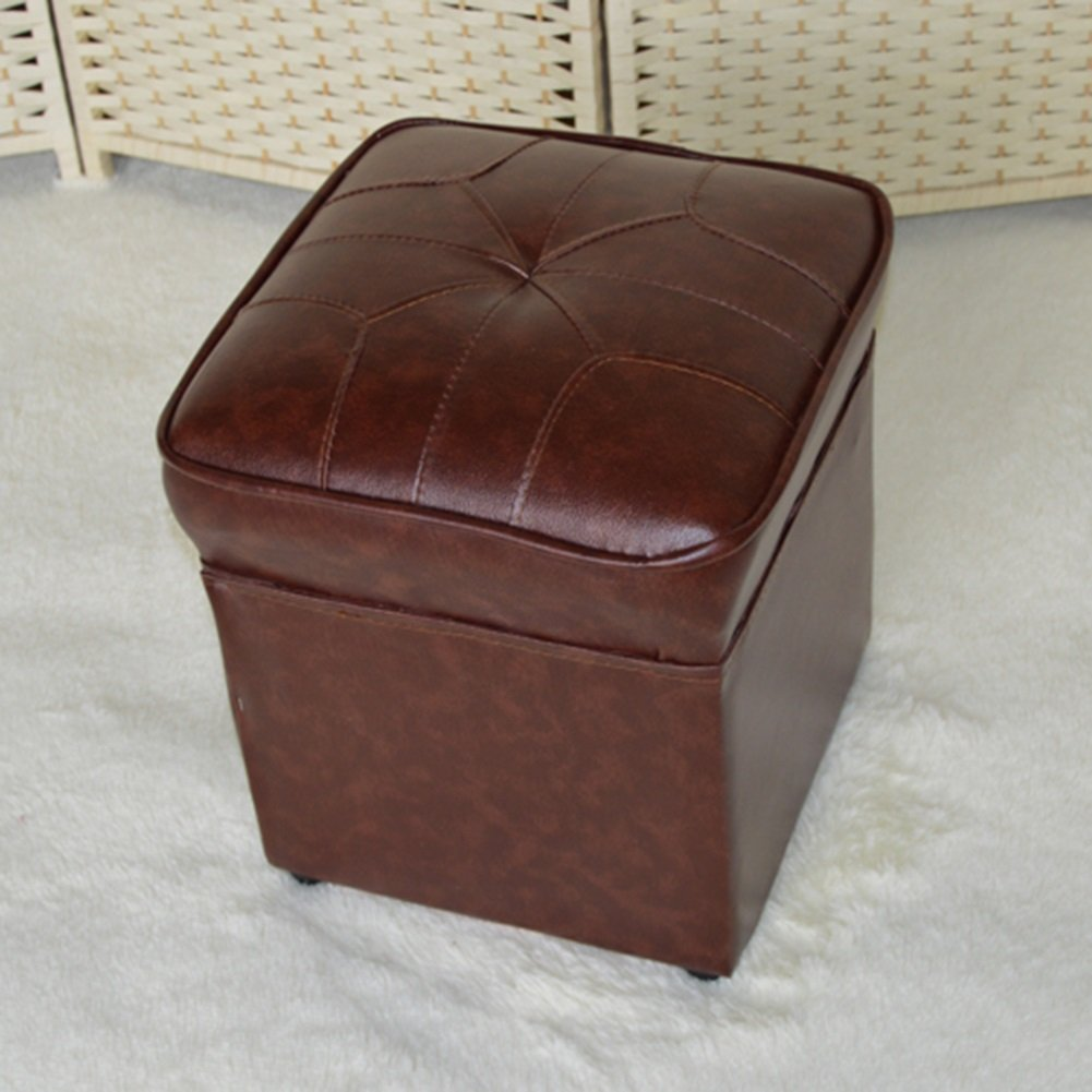 Amazon.com: RKY Solid Wood Leather Lattice Storage Stool ...