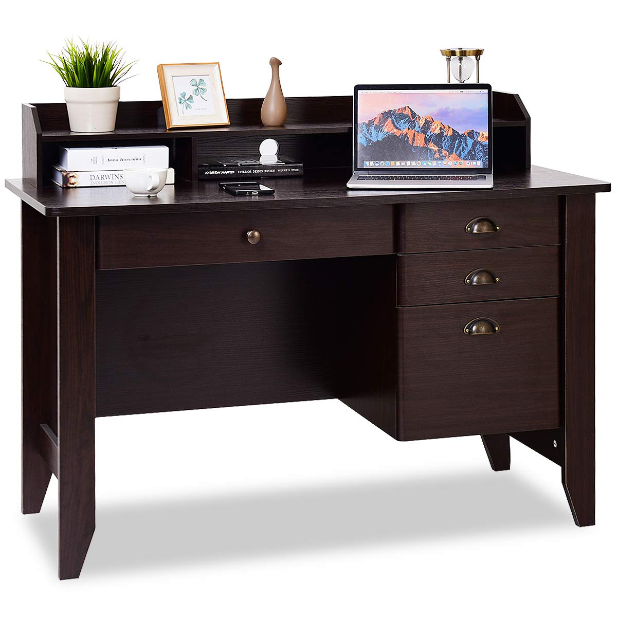 Tangkula Computer Desk, Home Office Desk, Wood Frame Vintage Style Student Table with 4 Drawers & Bookshelf, PC Laptop Notebook Desk, Spacious Workstation Writing Study Table (Coffee) by Tangkula