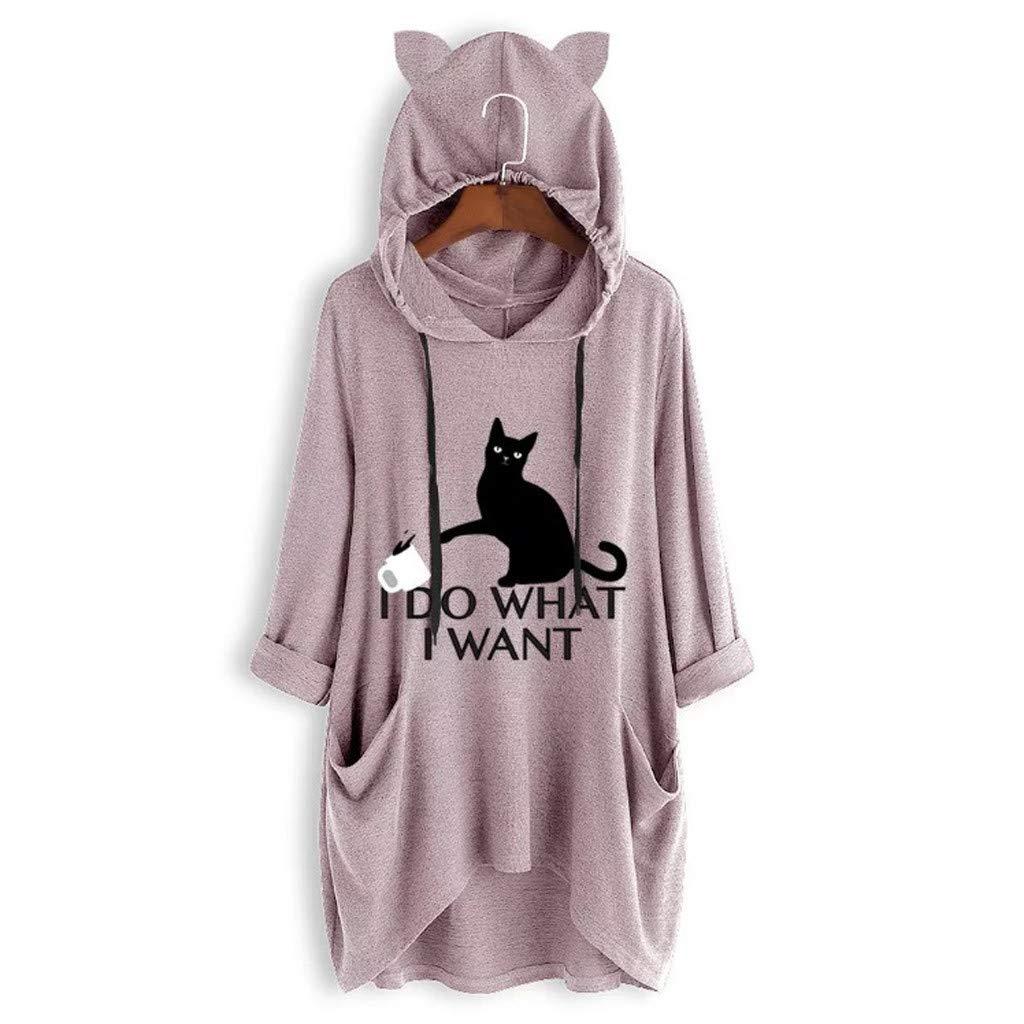 Women Loose Cut Print Long Sleeves Cat Ear Hooded Soft Irregular Loose Pocket Tunic Top Blouse T-Shirt