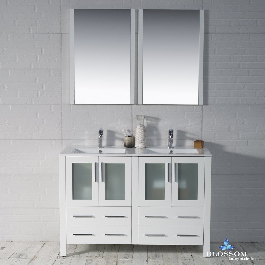BLOSSOM 001-48-01-D Sydney 48'' Double Vanity Set with Mirrors Glossy White