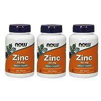 Now Foods Zinc Gluconate 50 Milligram Tablets,Pack of 3