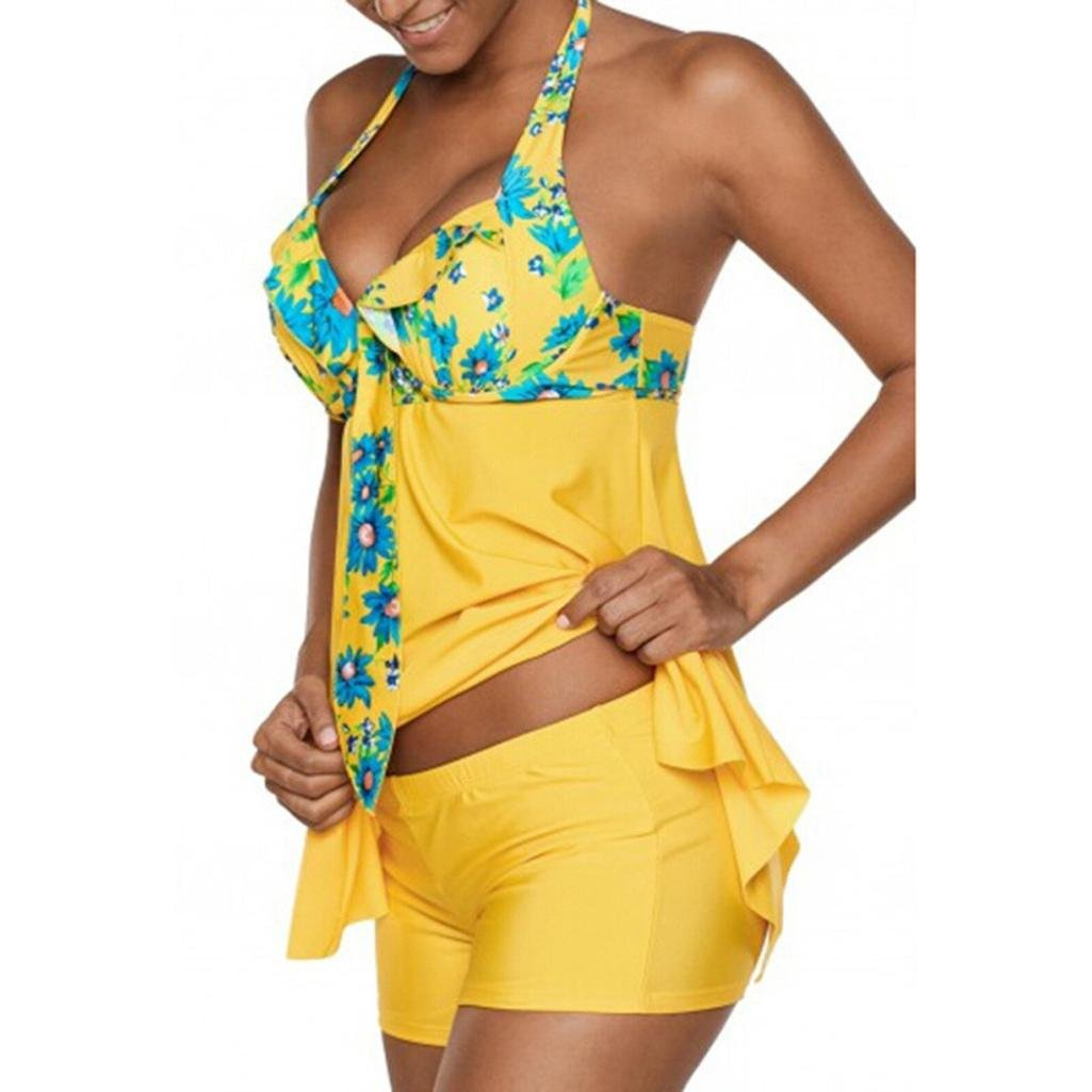 9842e2a67bc ... Inkach-- Womens Tankini Swimwear - Halter Floral Printed Bathing Suit - Two  Piece Swimsuit ...