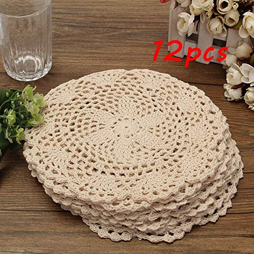 LIShuai Fashion 12 Dozen Round Vintage Cotton Mat Hand Crocheted Lace Doilies Flower Coasters Lot