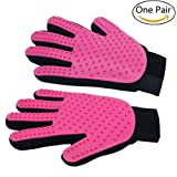Freefa Pet Grooming Gloves Mitts, Pet Deshedding Bathing Massage Brush Glove Comb for Long & Short Hair Dogs, Cats, Bunnies, Horses, 2 Pack (LEFT&RIGHT,PINK)