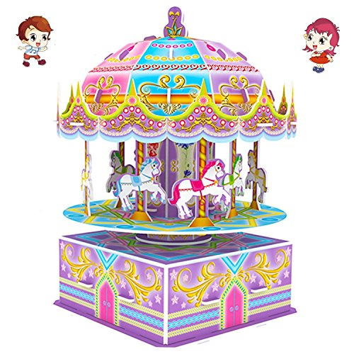 3D Carousel Puzzles for Kids Magic Carousel Music Box Dollhouse Model Whirligig Jigsaw Music Box DIY Construction Set Educational Toys Creative Games, Carousel Toy for Birthday Gift Girl Boy by TTHO (Image #6)