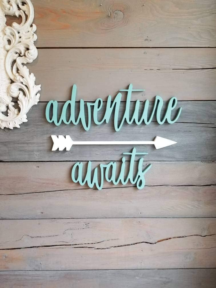 MarthaFox Adventure Awaits Sign Wood Adventure Sign Arrow Wall Decor Travel Decor Adventure Playroom Sign